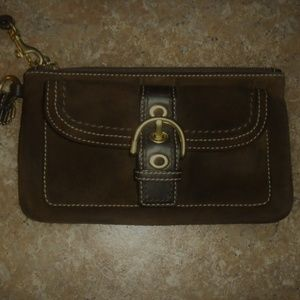 Coach Wristlet Brown Suede EUC Room For Everything